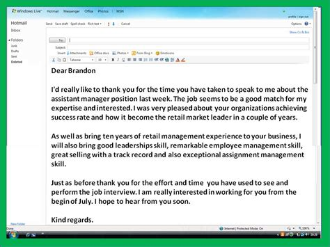 Employment Thank You Letter Email how to get a email thank you note after sle
