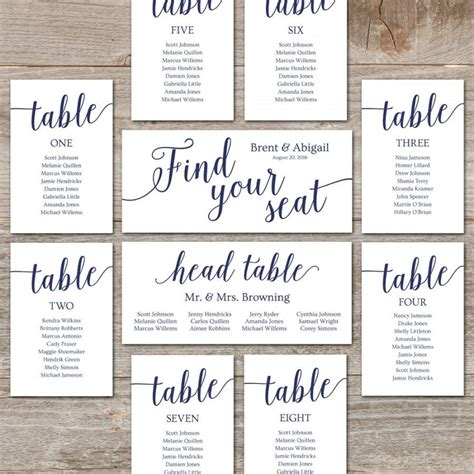 search results for printable wedding seating templates