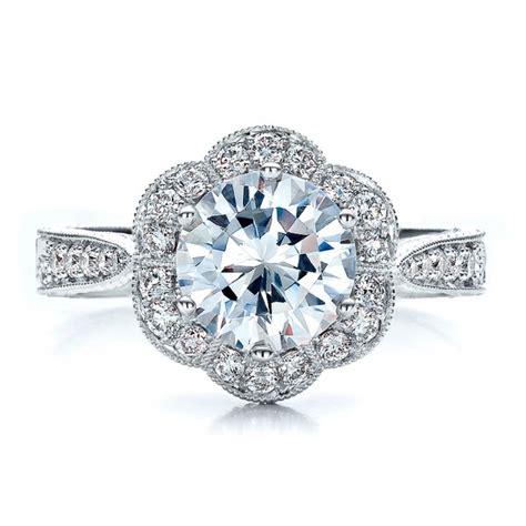 antique engraved engagement ring vanna k 100040