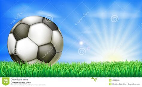 soccer in sun and soccer football ball on pitch stock vector image 42846588