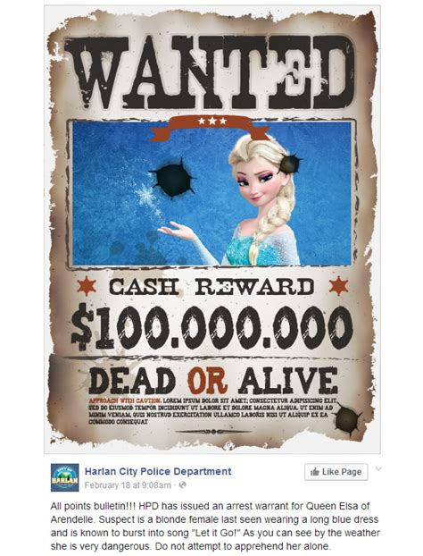 What A Search Warrant Looks Like Issued Arrest Warrant For Elsa From Frozen For The Crime Neatorama
