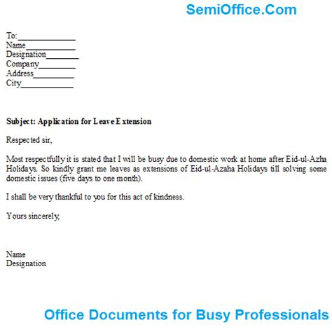 Leave Application Letter Email Application For Leave Extension Format And Sle
