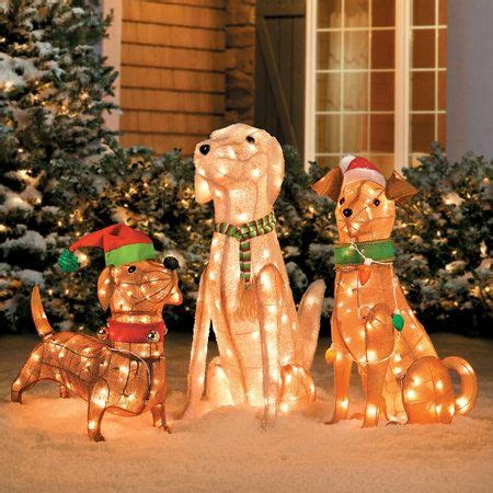 Outdoor Dogs Christmas Decorations Home Pre Lit Tinsel