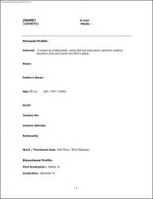 simple one page resume template one page resume templates sle resume cover letter format