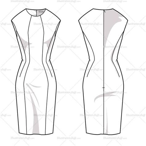 women s sheath dress fashion flat template illustrator stuff