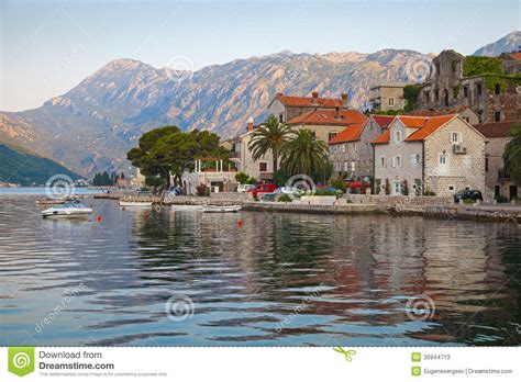 Mediterranean Home Plans perast town landscape bay of kotor stock photos image