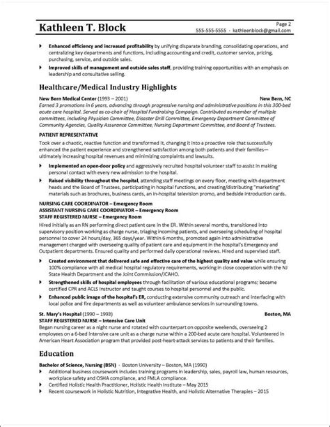 Resume Exles Management by Management Resume Sle Healthcare Industry