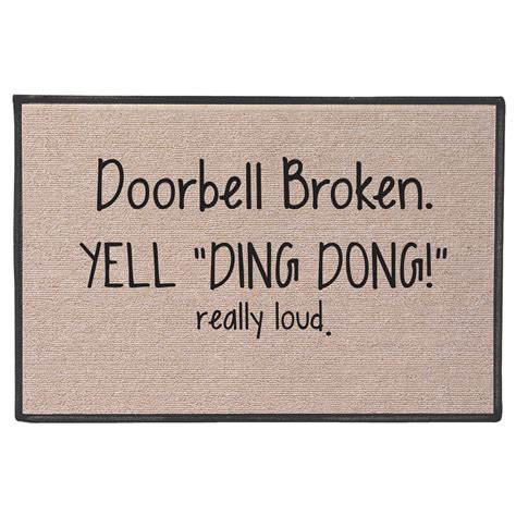 Ding Mats by Exclusive Doorbell Broken Yell Ding Dong Really Loud