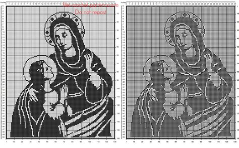 pattern energy st joseph saint anne with virgin mary free filet crochet religious