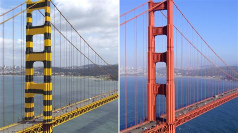 the golden gate bridge almost ended up with a bumble bee paint