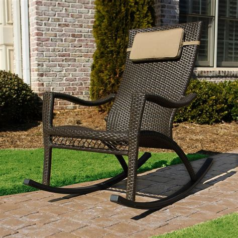 Patio Wicker Chairs Shop Tortuga Outdoor Mahogany Wicker Patio Rocking Chair At Lowes