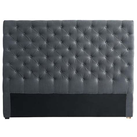 Velvet Buttoned Headboard Velvet Button Headboard In Grey W 140cm Chesterfield Maisons Du Monde