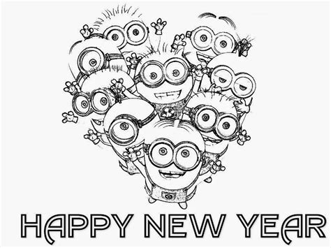 New Year Themed Coloring Pages | colour drawing free hd wallpapers happy new year 2015