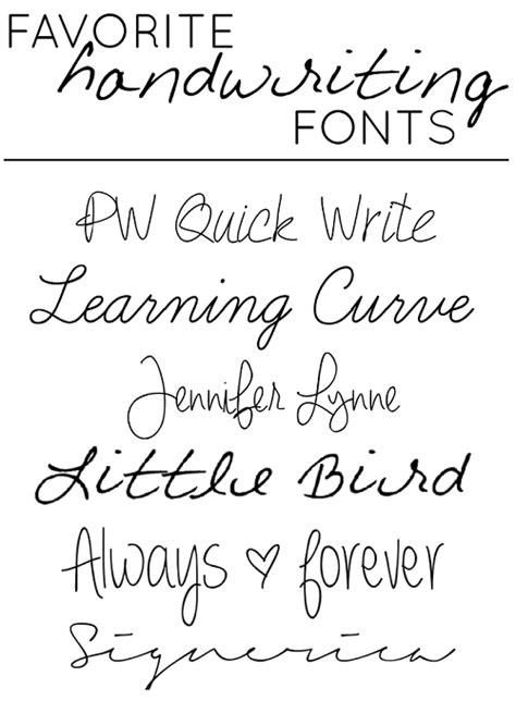 tattoo fonts handwritten favorite quot handwriting quot style fonts tattoos