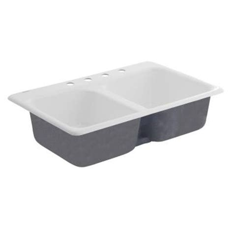 American Standard White Kitchen Sink American Standard Top Mount Cast Iron 33 In 4 Bowl Kitchen Sink In White Heat