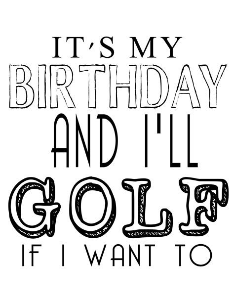 anniversary card golf template free its my birthday printables our thrifty ideas