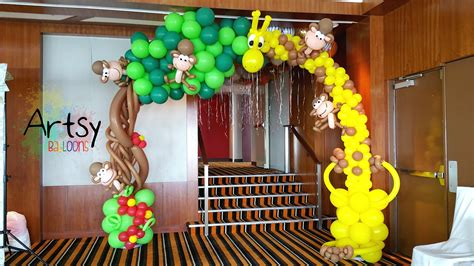 Safari theme party with animal balloon arch backdrop and many more singapore balloon