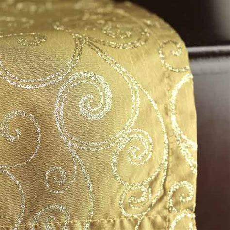 Gold Glitter Table Runner antique glitter swirls satin table runner table linens
