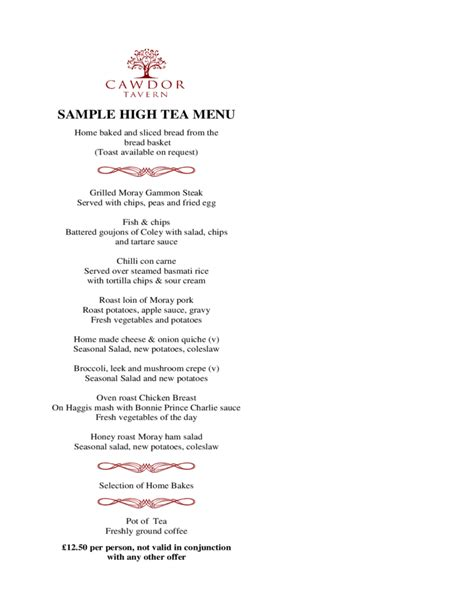 Afternoon Tea Menu Template high tea menu template and design free