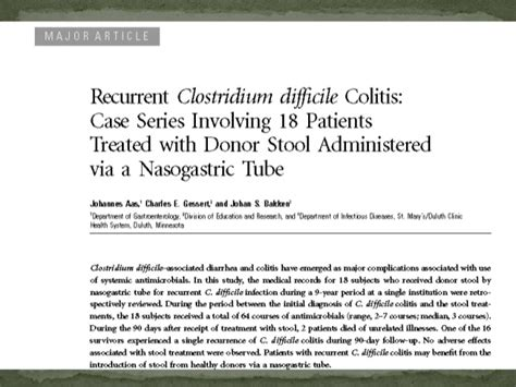 C Diff Stool Transplant Protocol by Faecal Transplantation For The Treatment Of C Defficle
