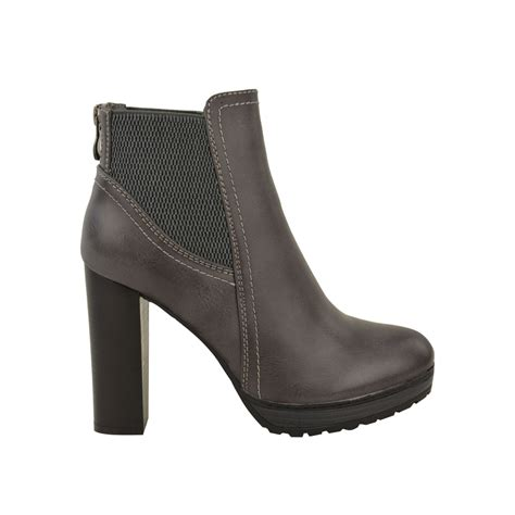 faux leather stretch panel chunky platform high heel