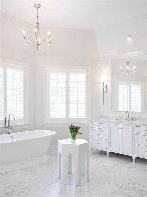 Benjamin Moore Bathroom Paint Ideas by Nickel And Beaded Chandelier Over Tub Transitional