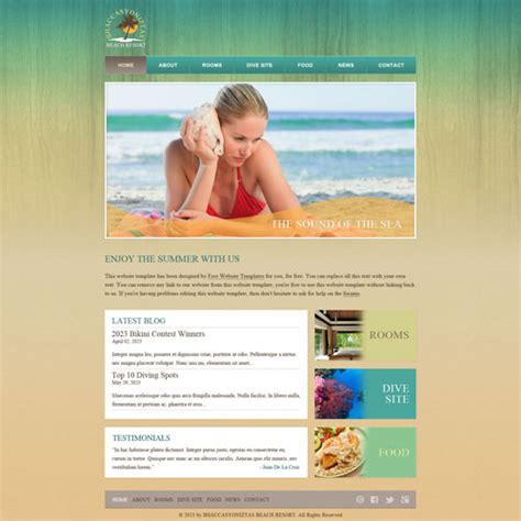 Beach Resort Web Template Free Website Templates Resort Website Template