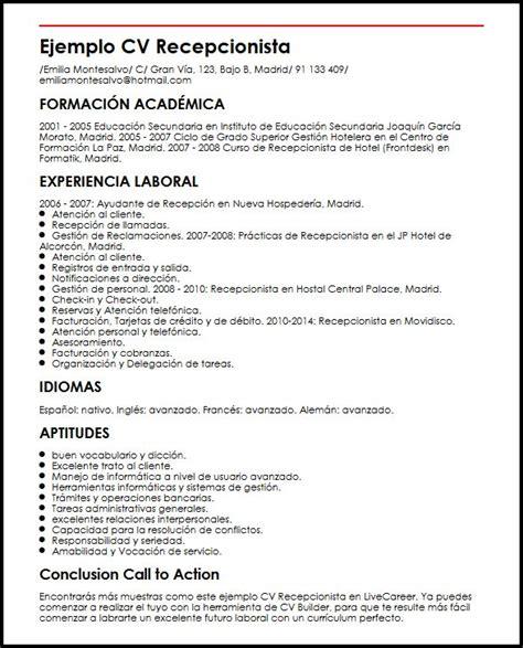 Modelo Curriculum Para Recepcionista Hotel Ejemplo Cv Recepcionista Micvideal