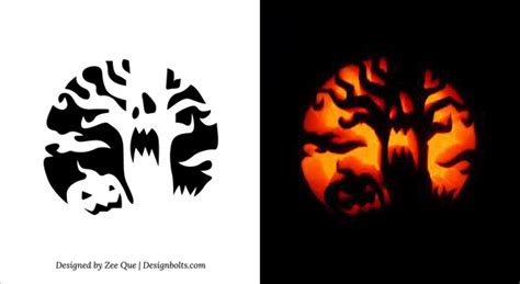 free printable scary pumpkin carving pattern designs printable pumpkin stencil