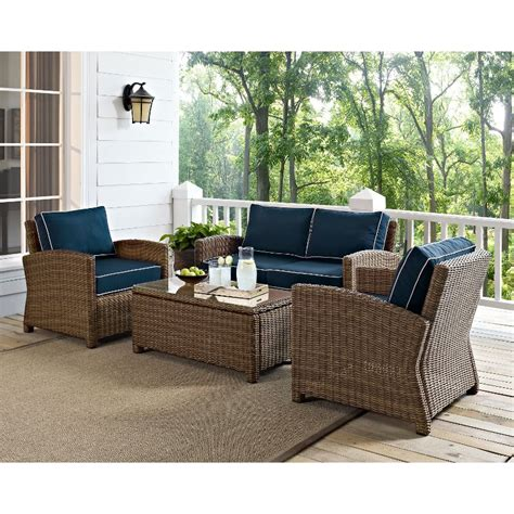Outdoor Wicker Patio Furniture Sets Bradenton Navy Light Brown Outdoor Wicker Loveseat Arm Chairs And Table