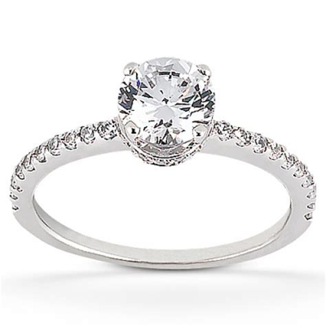 prong set engagement ring with shared prong set accents in accent engagement rings