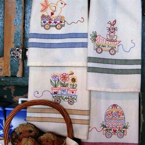 embroidery designs for kitchen towels machine embroider a set of towel designs specially designed for the easter holiday