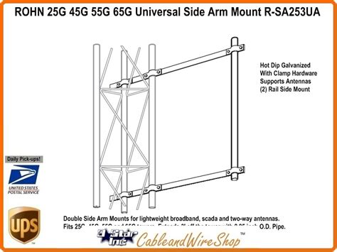 tv antenna tower sections rohn r sa253ua universal side arm antenna mount for 25g
