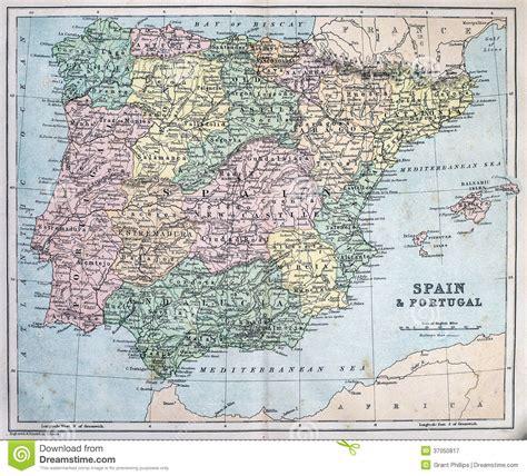 porto della spagna mappa antica della spagna e portogallo immagine stock