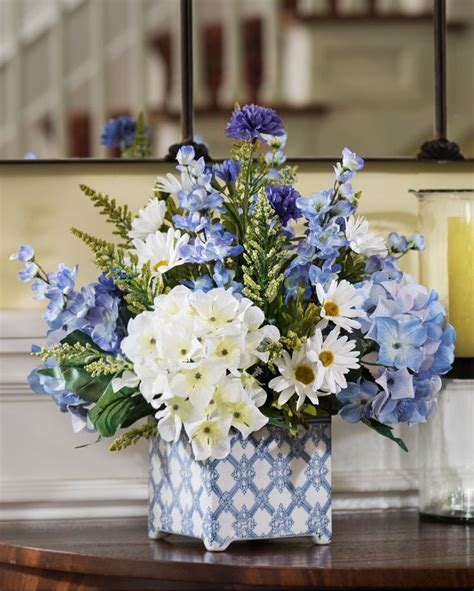 blue hydrangea flower arrangements hydrangeas in blue silk flower arrangement blue blooming