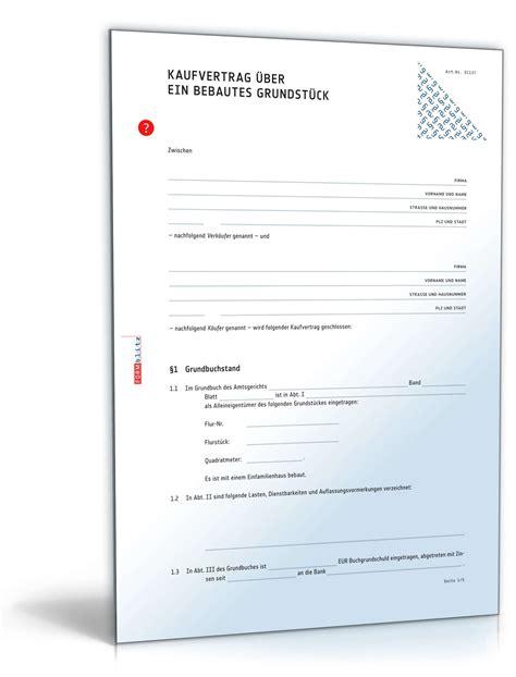 Angebot Hauskauf Vorlage Kaufvertrag Haus Bzw Bebautes Grundst 252 Ck Mit Auflassung