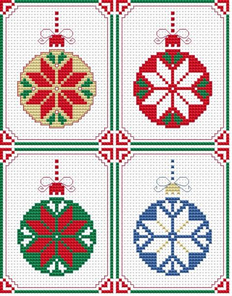 set of 4 christmas cards free cross stitch pattern cross