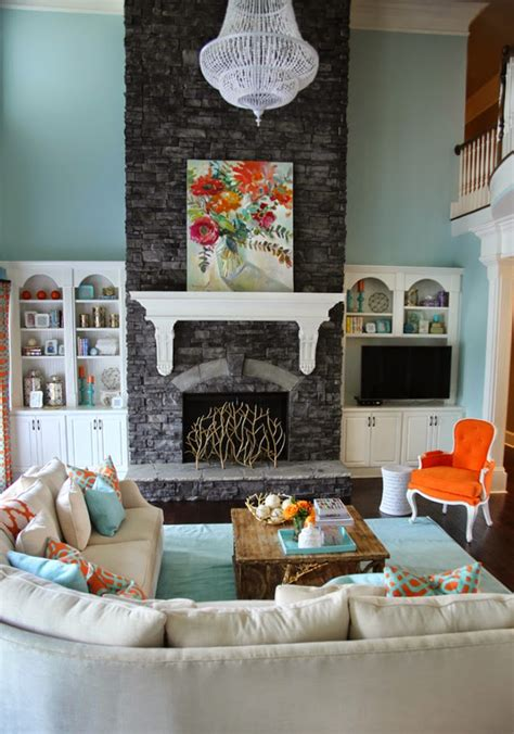house of turquoise living room 5 ways to get this look stone fireplace family room