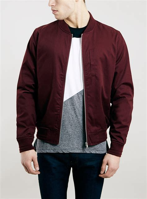 Bomber Jaket Maroon burgundy cotton bomber jacket topman from topman