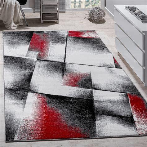teppich rot schwarz grau designer teppich modern wohnzimmer teppiche kurzflor