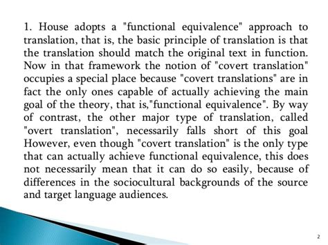 thesis about equivalence in translation theory criticisms of jullianne house s model of translation