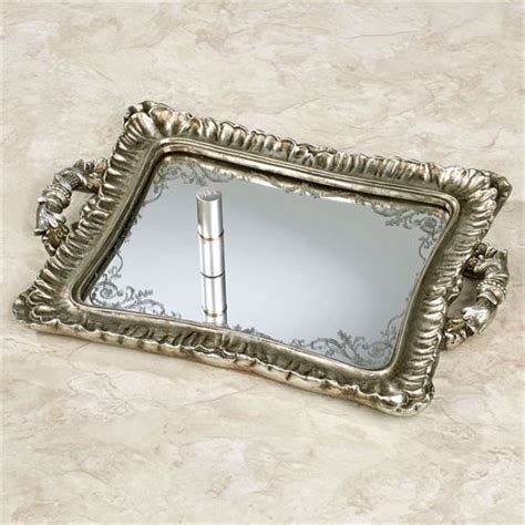 Silver Vanity Tray by Melyna Silver Mirrored Vanity Tray