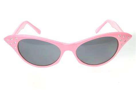 G&G Rhinestone Smoke Cat Eye 50s Party Sunglasses Pink