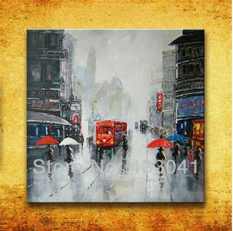 Home Decor Paintings For Sale Painted Modern Abstract City Painting On Canvas Wall Home