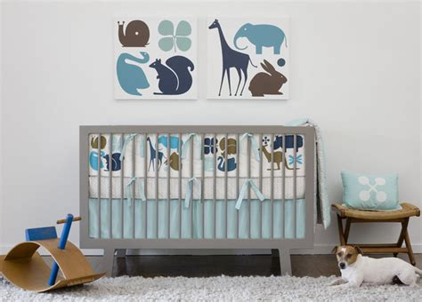 dwellstudio baby crib bedding gio in aqua modern