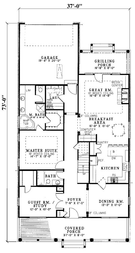 Narrow House Plans With Garage House Plans For Narrow Lots With Rear Garage Cottage House Plans