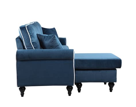 sofa with reversible chaise lounge traditional small space blue velvet sectional sofa with