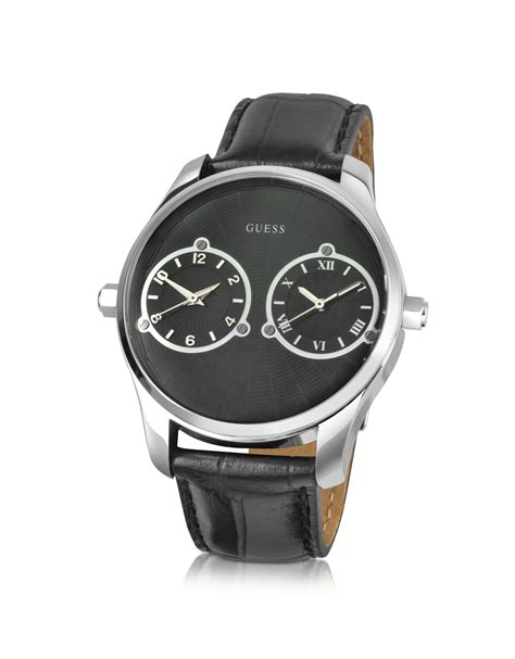 Guess Dualtime Leather Gold 1 guess black dual time leather band in black for lyst