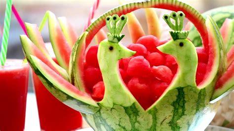 vegetable carving in watermelon peacock fruit vegetable carving