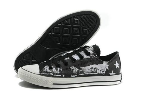 Converse Ct Unisex Low Black converse original ct american usa flag graffiti print chuck all low black white